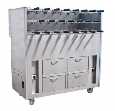 Barbecue triple en inox au Charbon professionnel 17 broches rotatives GRELHACO