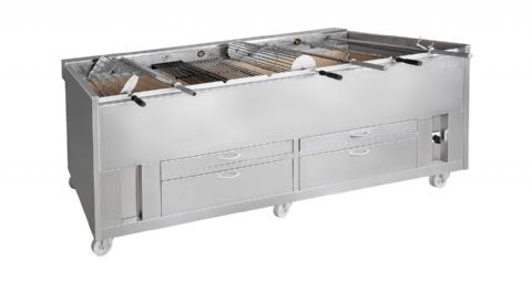 Barbecue en inox au Charbon professionnel 11 grilles rotatives GRELHACO