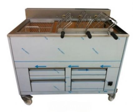 Barbecue en inox au Charbon Industriel professionnel  3 grilles rotatives + 2 grilles fixes IMPORMARTINHO