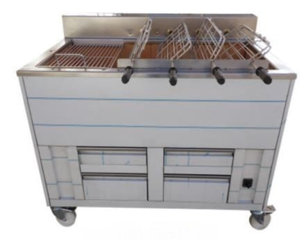 Barbecue en inox au Charbon Industriel professionnel  5 grilles rotatives + 2 grilles fixes IMPORMARTINHO